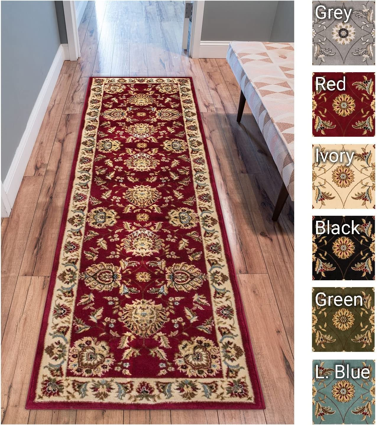 """Sultan Sarouk Red Persian Floral Oriental Formal Traditional 2x7 (2'3"""" X 7'3"""") Runner Rug Stain/Fade Resistant Contemporary Floral Thick Soft Plush Hallway Entryway Living Dining Room Area Rug"""