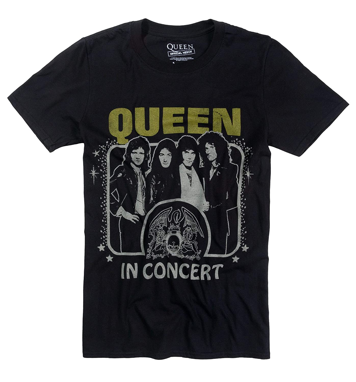 Black Vintage Queen in Concert T Shirt , 70s Music Tees