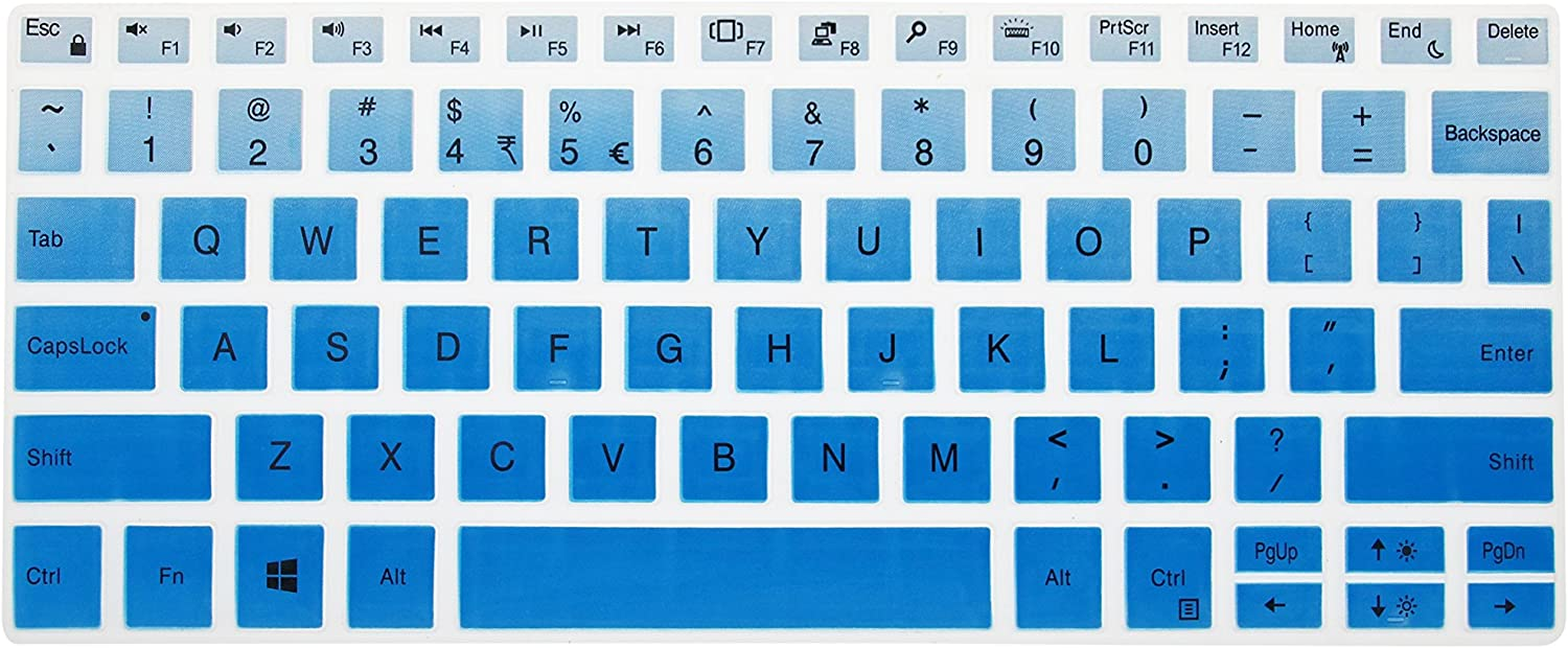 Leze - Ultra Thin Silicone Laptop Keyboard Skin Protector for 13.3-Inch Dell XPS 13 9370 9380,XPS 13 9365 2-in-1 Touch-Screen Laptop - Gradual Blue