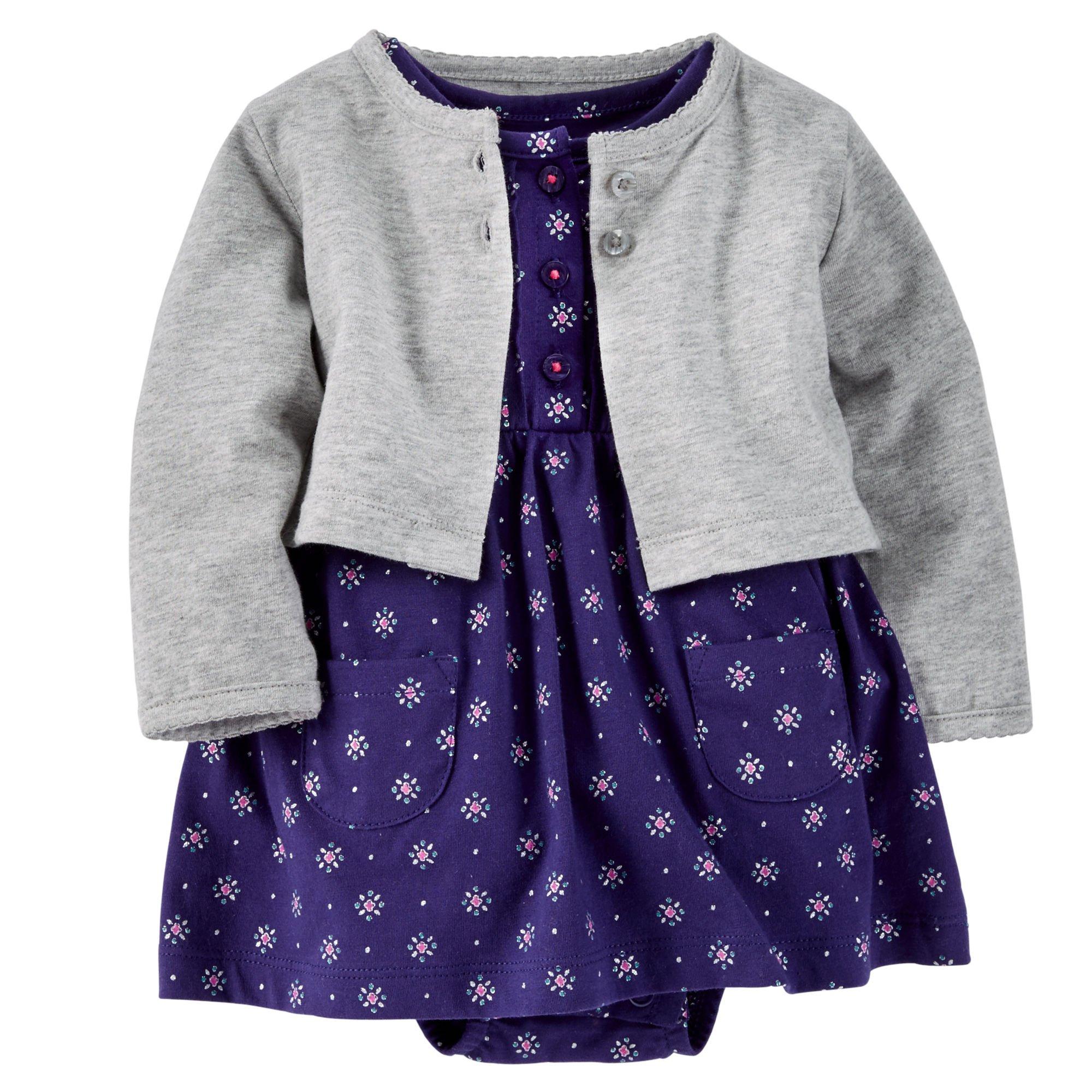 Carter's Baby Girls' 2-Piece Dress and Cardigan Set (6 months, Purple)