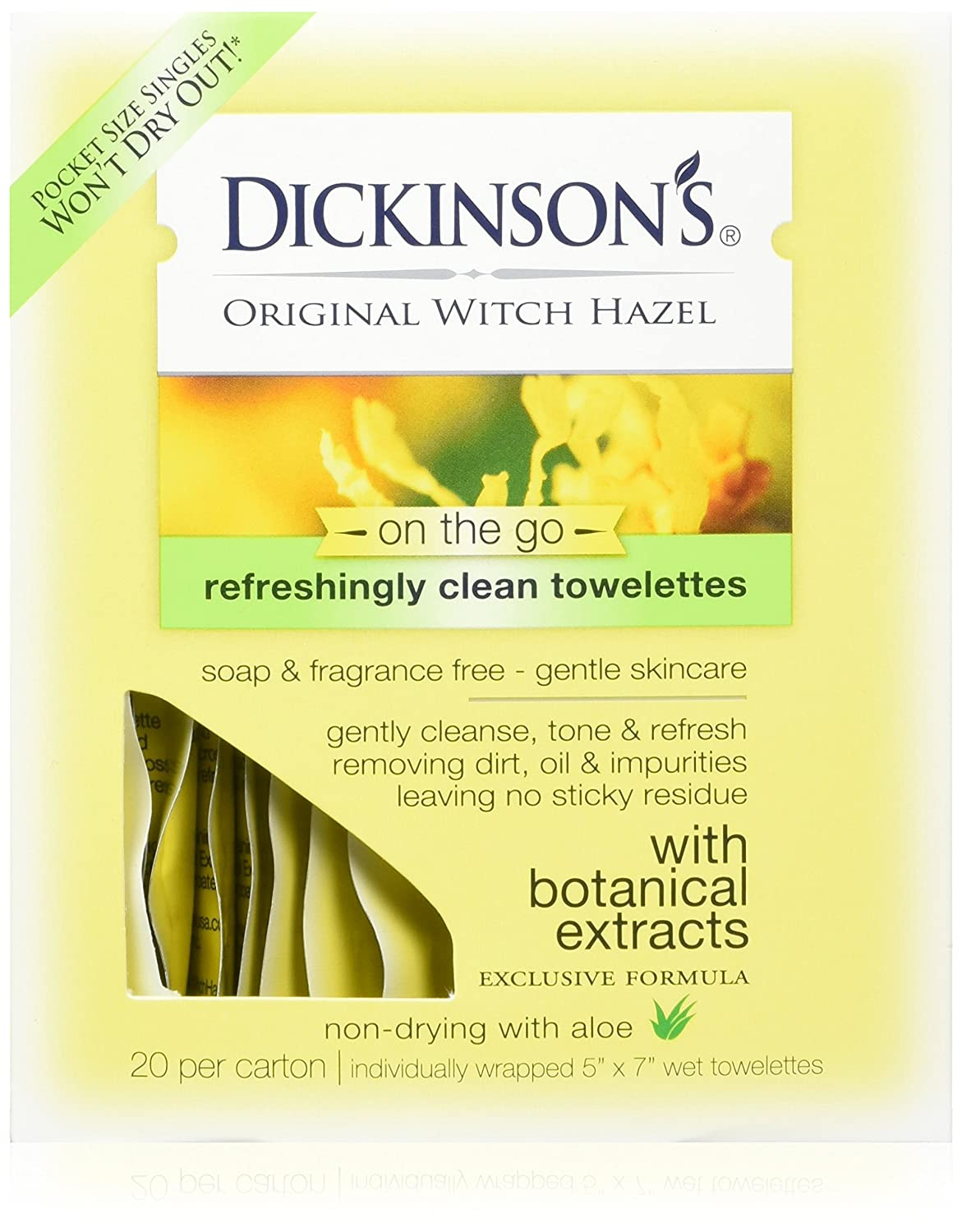 Dickinson's Original Witch Hazel Refreshingly Clean Towelettes 20 Each (Pack of 3) Everready First Aid