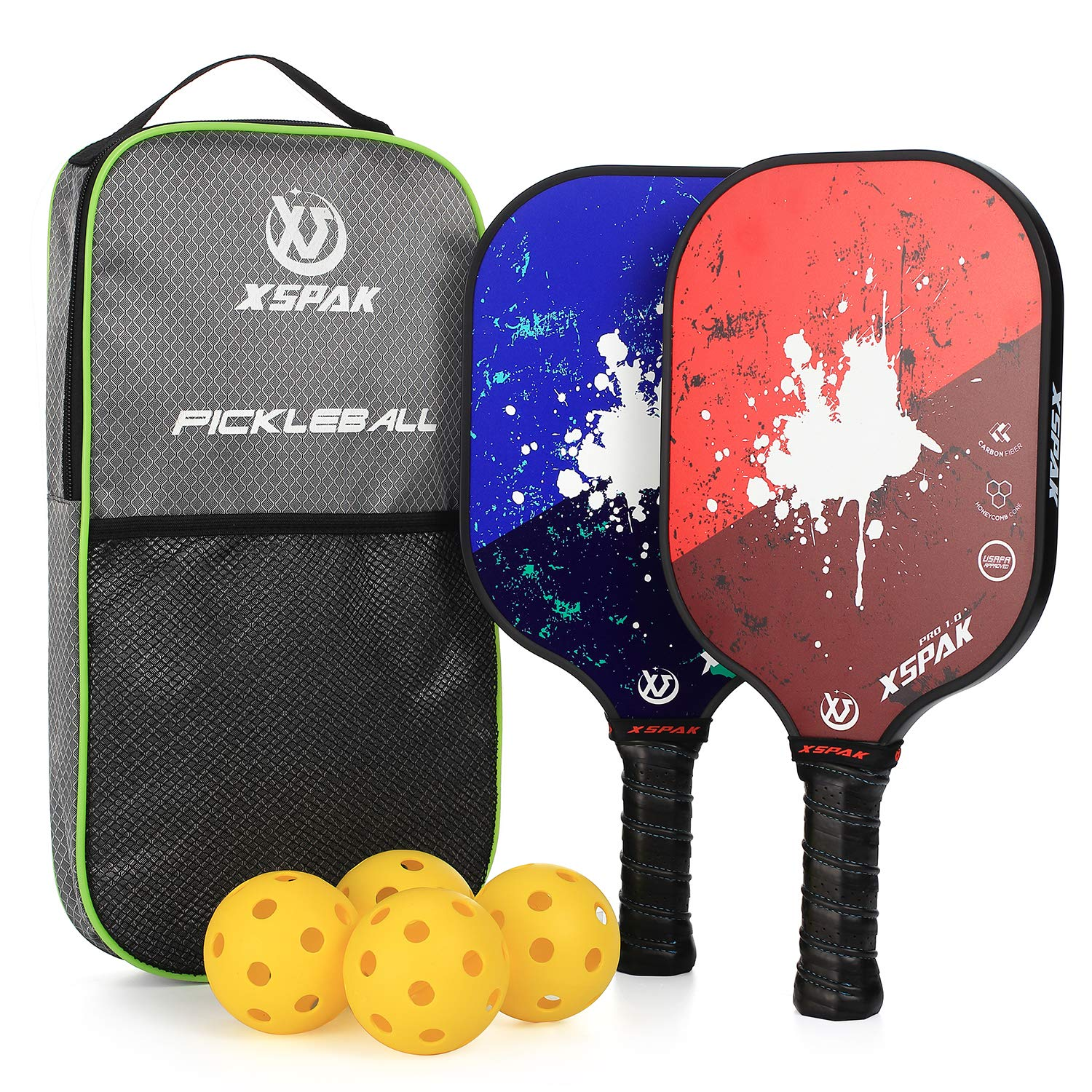 XS XSPAK Graphite Pickleball Paddle Set, Lightweight Graphite Honeycomb Composite Core Paddles Sets of 2 Including Racket Bag and 4 Balls, USAPA Approved by XS XSPAK