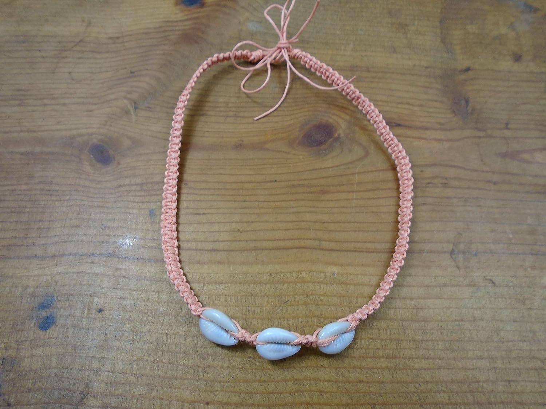 BEACH HEMP JEWELRY Grateful Dead Bear Anklet Bracelet Pink With Cowrie Shells Adjustable Handmade In USA