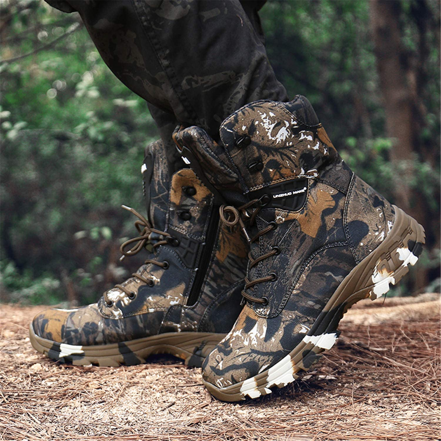 PULUSI Men Lightweight Leather Combat Hiking Army Shoes, Tactical Booties, Waterproof Military Ankle Boots Brown jfZQO
