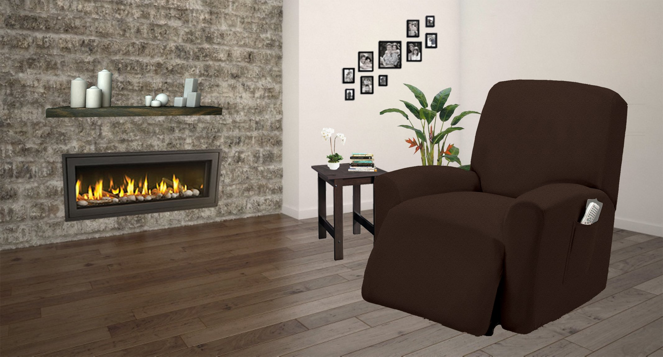 One piece Stretch Recliner Chair Furniture Slipcovers with Remote Pocket Fit most Recliner Chairs (Chocolate)