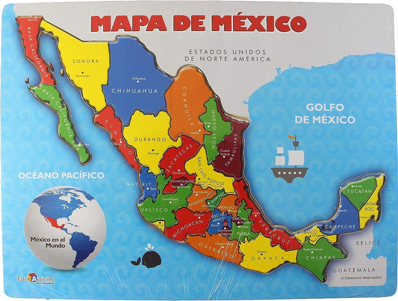 Mexico Map With Cities Amazon.com: México Map Puzzle Wood, México Provinces and