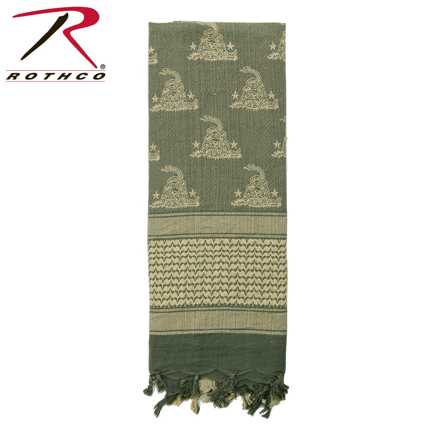 Rothco Gadsden Snake Shemagh Tactical Desert Scarf, Foliage Green