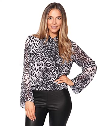 f547083bb5 KRISP 2891-GRY-10 12  Leopard Chiffon Shirred Waist Blouse Grey ...