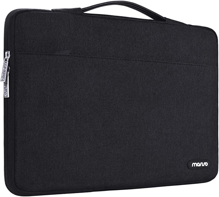 MOSISO Laptop Sleeve 360 Protective Case Bag Compatible with 13-13.3 inch MacBook Pro, MacBook Air, Notebook Computer, Polyester Briefcase with Trolley Belt, Black