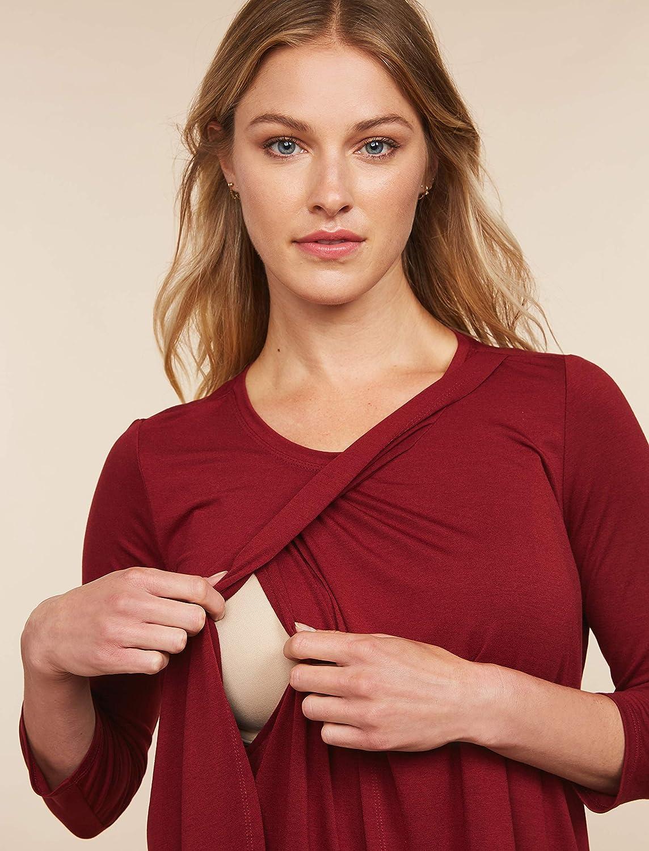 Motherhood Maternity Womens Maternity 3//4 Sleeve Scoop Neck Layered Tulip Hem Nursing Tee Shirt