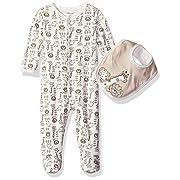 Little Me Baby Safari Footie and Bib, Ivory Multi Preemie