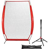 Pinty Baseball and Softball Practice Net 7'×7'/7'×4' Portable Hitting Batting Training Net with Carry Bag & Metal Frame + Baseball Softball Batting Tee