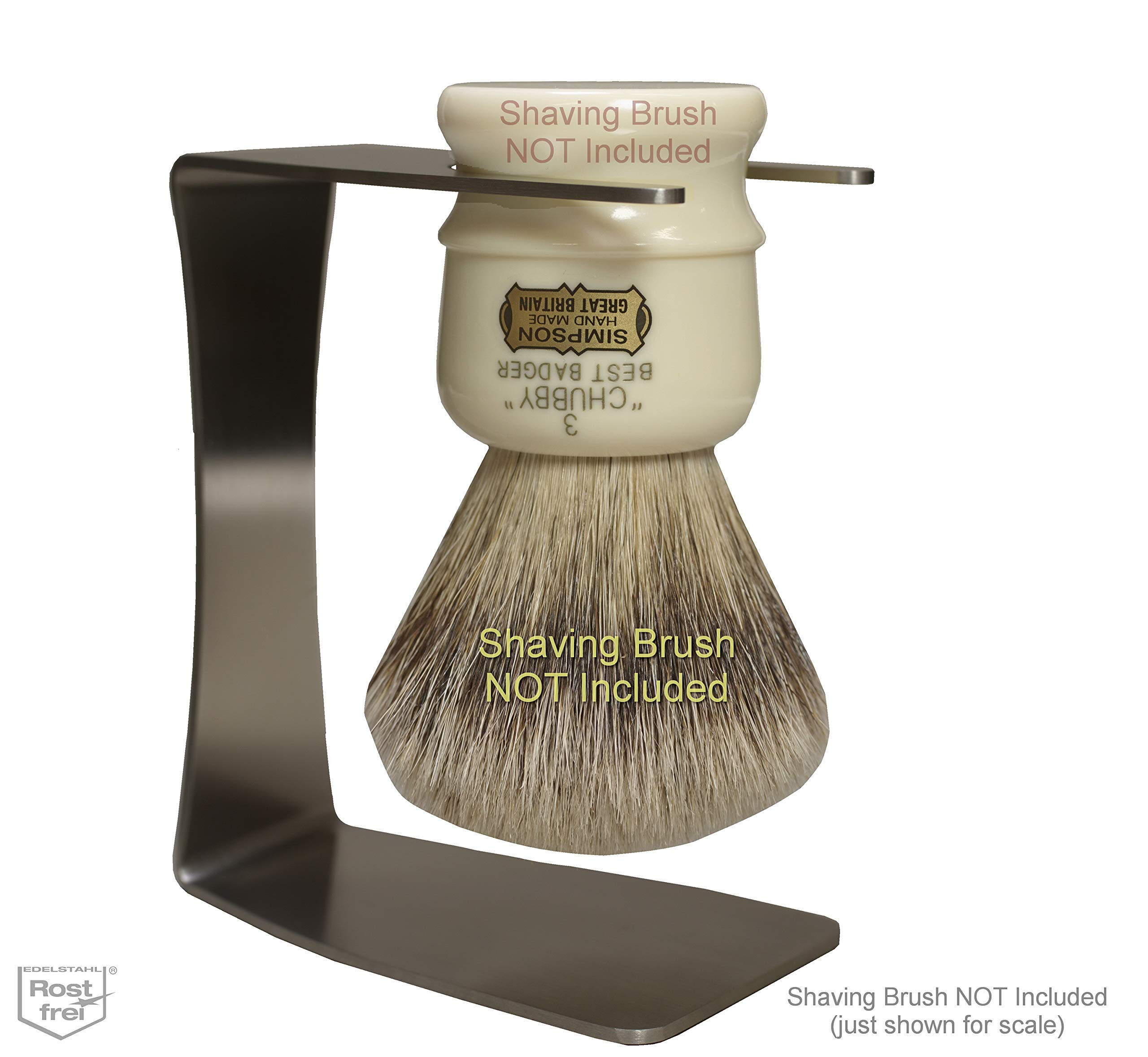 Stainless Steel Brush Stand for Simpsons Chubby 3 CH3 and Others, Holds Brush by its Waist Instead of the Knot/Handle Border to Extend Brush Knot Lifespan by The Superior Shave