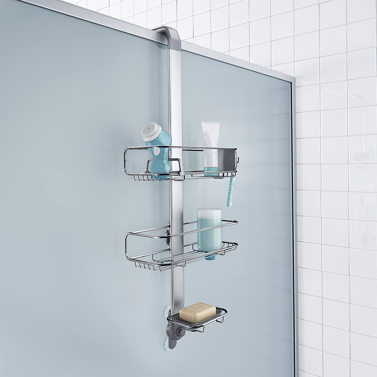 simplehuman Over Door, Hanging Shower Caddy, Stainless Steel and ...