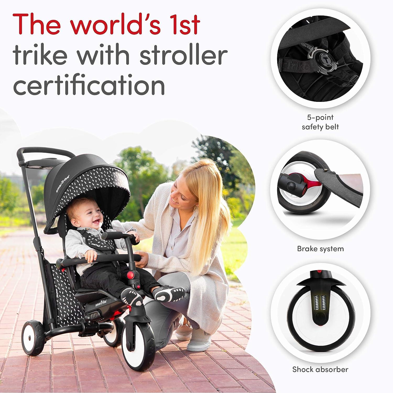 smarTrike STR5 Triciclo con Certificazione di Passeggino per Bambini di 1,2,3 Anni - 7 in 1 Trike Multi-Stadio (Grigio) Nero E Bianco