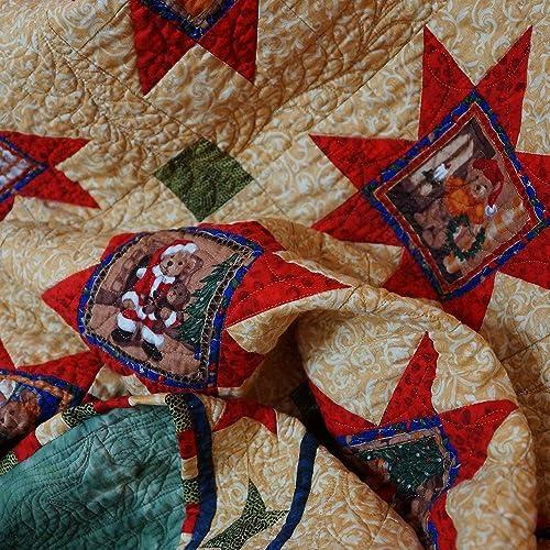 Amazon com: Quilt Christmas Holiday Teddy Bear Sawtooth Stars