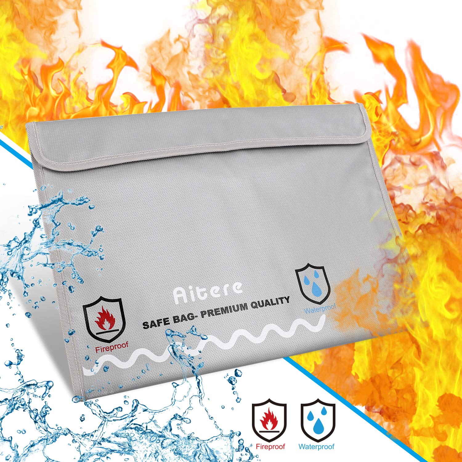 Aitere Fireproof Safe Document Bag- New Version Fireproof Envelope for Documents Non-Itchy Liquid Silicone Coated Fire & Water Resistant Money Bag Fireproof Safe Storage for Money, Documents, Jewelry