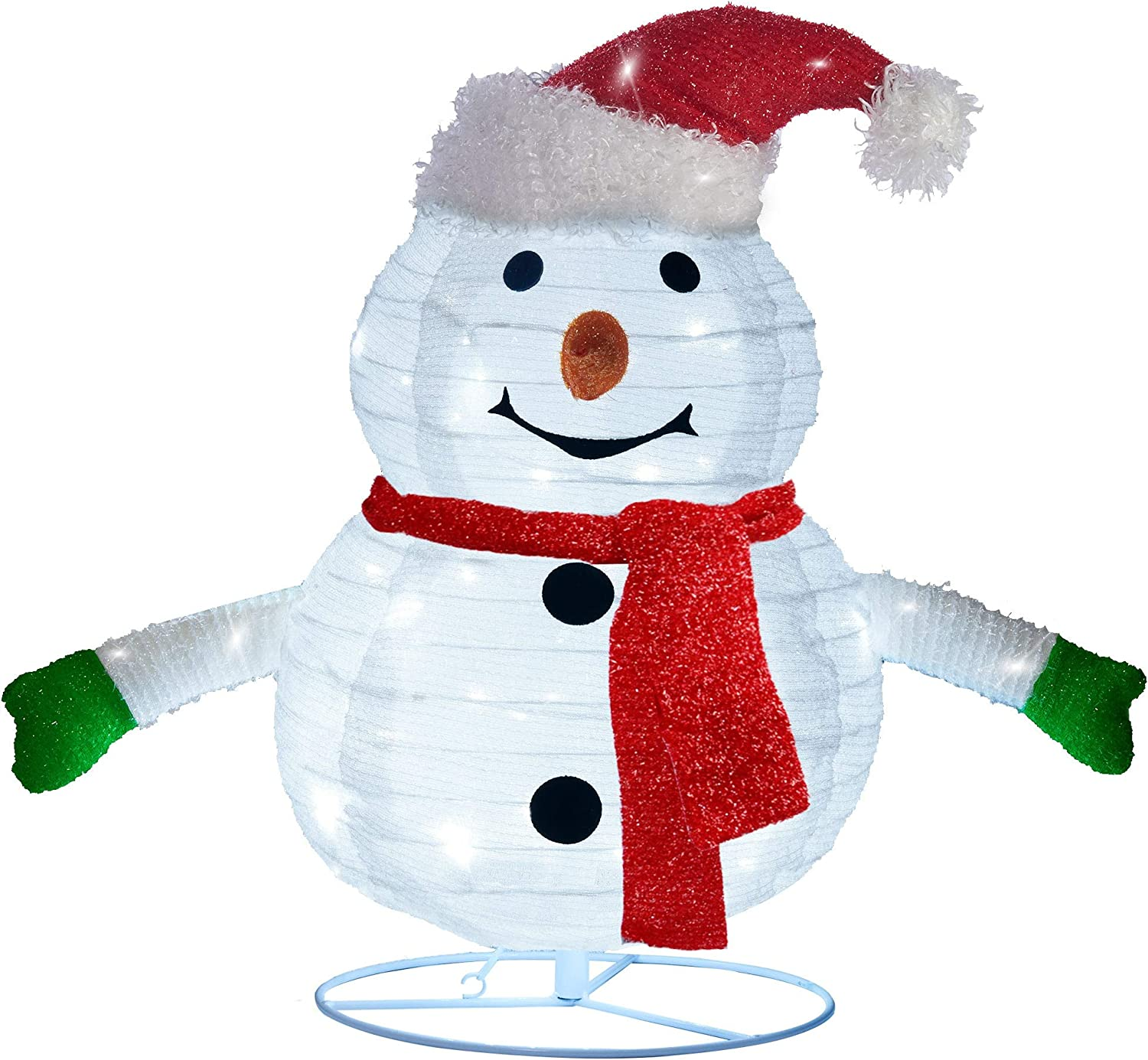 Twinkle Star 2FT Lighted Pop Up Christmas Snowman Decorations, Pre-Lit Light Up 48 LED Cool White Lights, Collapsible Easily Metal Stand Easy-Assembly Reusable for Holiday Xmas Indoor Outdoor Decor