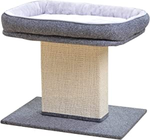 Catry Cat Bed with Scratching Post - Minimalist Style Design of Cat Tree with Cozy Cat Bed and Teasing Scratching Post, Allure Kitten to Stay Around This Sturdy and Easy to Assemble Cat Furniture
