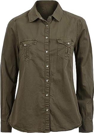 Para mujer Militar Caqui Plus tamaño de manga larga para Pure algodón de sarga camisa blusa Top verde Verde De Color Caqui 52: Amazon.es: Ropa y accesorios