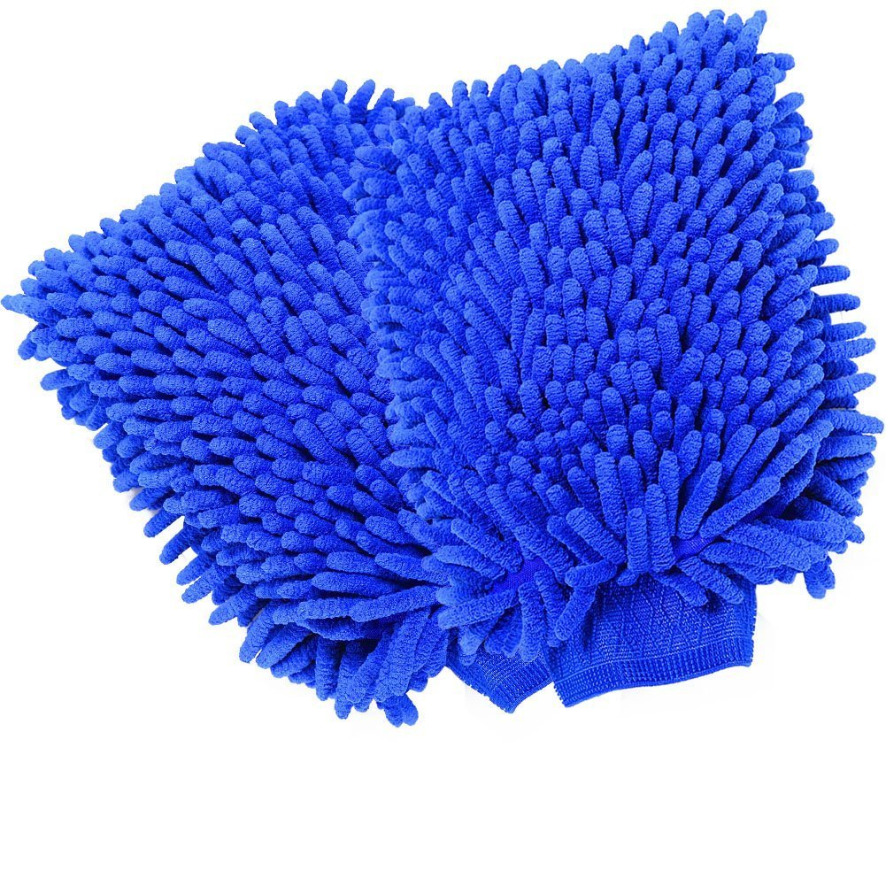 FuKang Car wash mitt, Premium Chenille Microfiber Duster Cleaning Cloth Kit,Wash car care Equipment,Towels Accessories - Automobile wash gloves (2 Pack Dark blue) Sunny-home