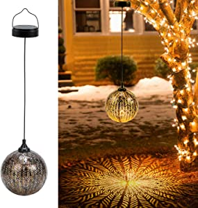 2 Pack Hanging Solar Lanterns, OxyLED Solar Lights Outdoor, LED Lanterns Solar Powered Waterproof, Decorative Retro Metal Solar Lights with Handle for Garden Patio Yard Pathway Walkway Tree Christmas