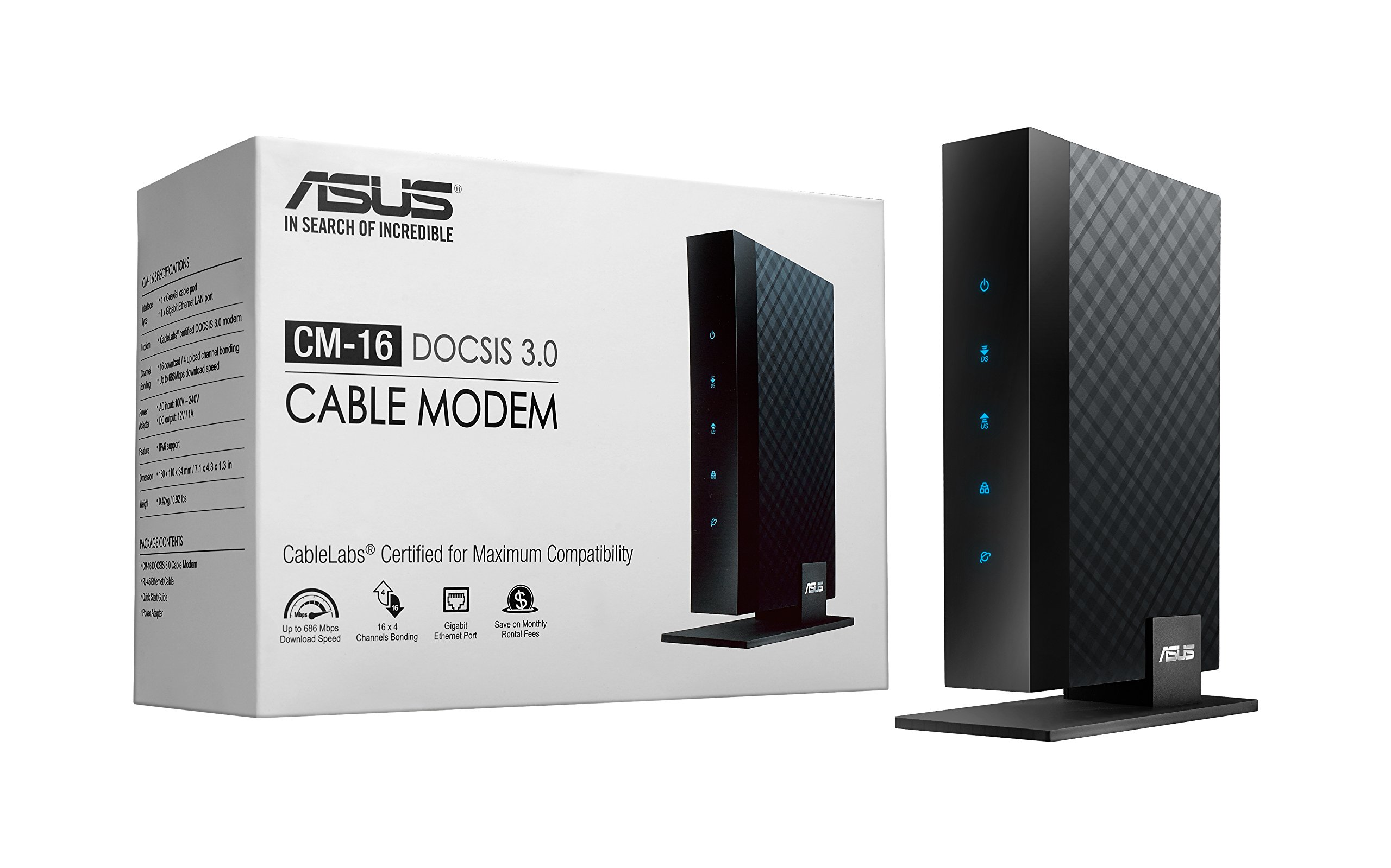 ASUS DOCSIS 3.0 High Speed 16 x 4 Cable Modem, Max. Download Speed 686 Mbps, Certified for Xfinity from Comcast, Spectrum and Cox, Separate wireless router required for Wi-Fi connectivity (CM-16)