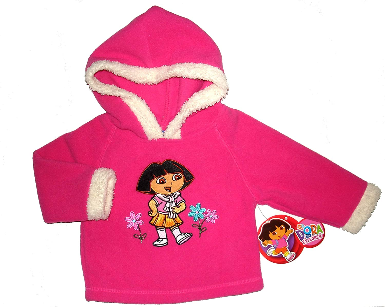 Dora the Explorer ~Infant Girls Fur Trim Fleece Hoodie~ 12 Months