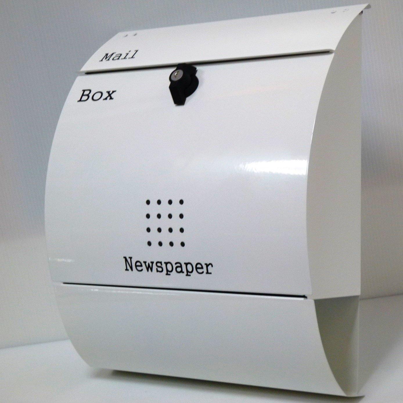 ポスト 郵便ポスト 郵便受け メールボックス壁掛けホワイト白色 ステンレスポストm033 B008I5BYJA 12880