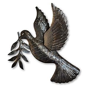 "Dove of Peace, Bird, World Unity, Recycled Metal Art, Haiti 17"" X 17.5"""