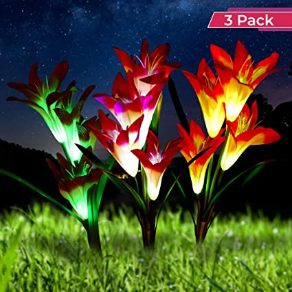 Optimal Home Living Solar Garden Stake Light 3 Pack Lily Light For Outdoor Landscape Lighting Decorative Garden Lighting Turns Your Lawn Into Art