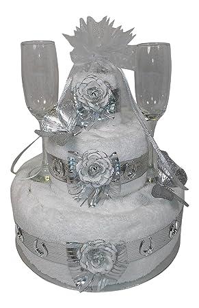 three tier silver 25th wedding anniversary gift towel cake - 25th Wedding Anniversary Gifts