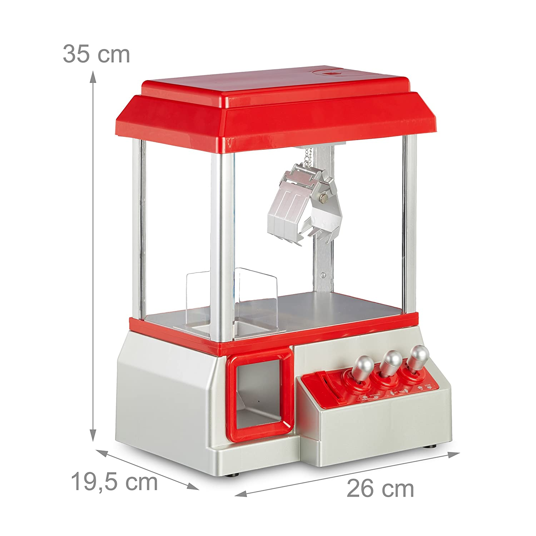 Relaxdays Candy Grabber - Máquina de garrapatas, Monedas, dispensador de Dulces con Música de Carnaval, Mini Juguete de Peluche, Color Rojo: Amazon.es: ...