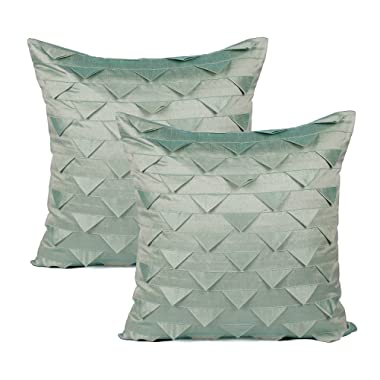 The White Petals Set of 2 Sage Green Accent Pillows Covers, Origami Style, Textured (Solid Sage Green, 20x20 inches)