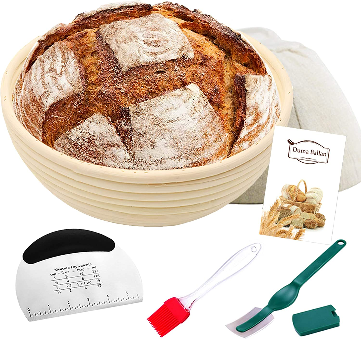 Okotxs Round Banneton Proofing Basket 10 Inch - Round Brotform Proofing Basket With Dough Scraper, Oil Brush & Cloth Liner - Artisan Bread Baking Supplies - Proofing Baskets For Sourdough Bread