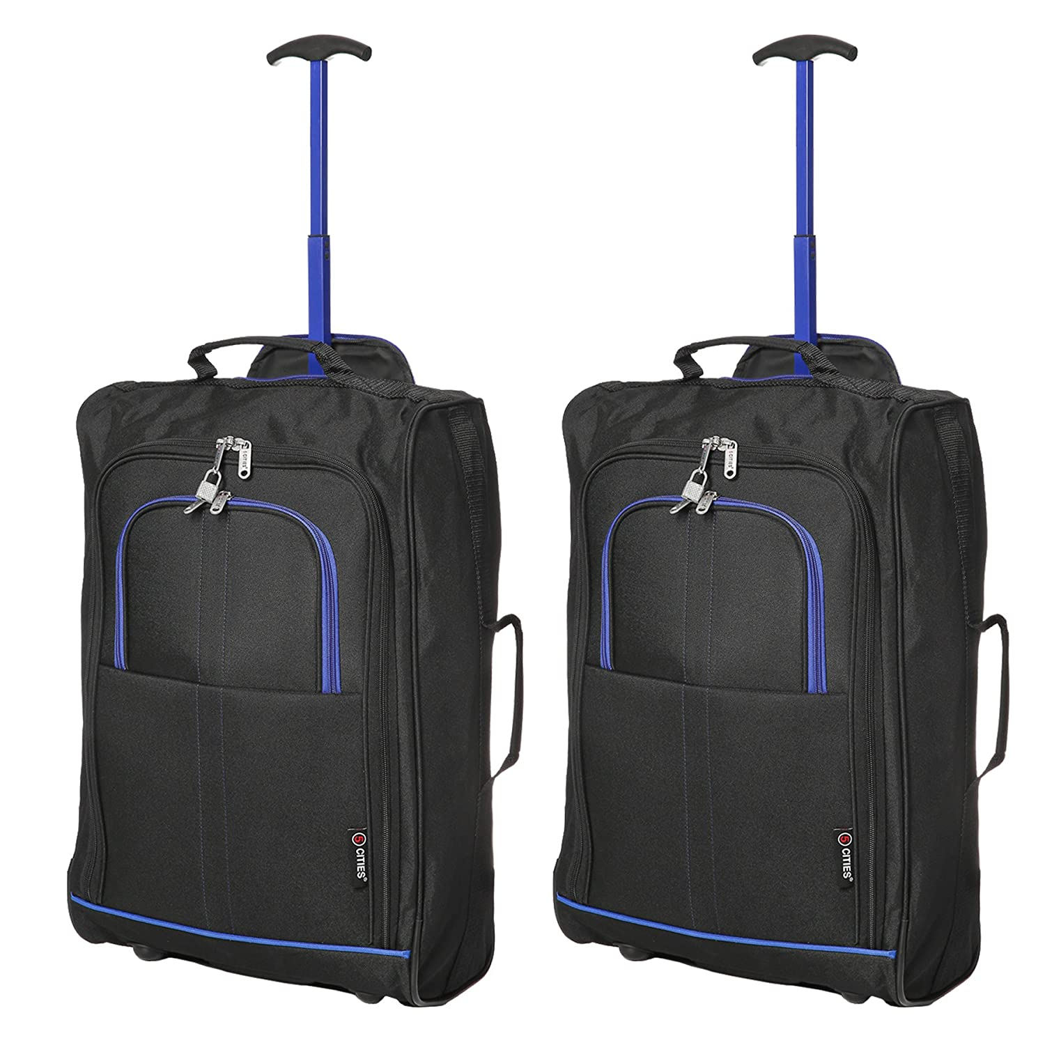 88658d1c3 Set of 2 Super Lightweight Cabin Approved Luggage Travel Wheely Suitcase  Wheeled Bags Bag (2 x Black/Blue): Amazon.co.uk: Luggage