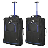 "Set of 2 21""/55cm 5 Cities Cabin Approved Hand Luggage Lightweight Trolley Bags for Ryanair/Easyjet"
