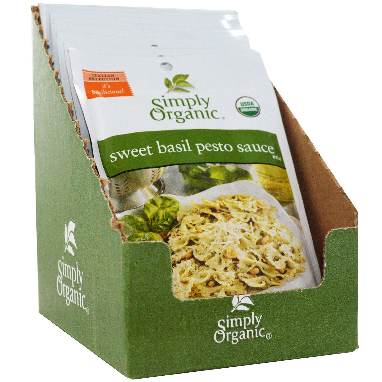 Simply Organic, Sweet Basil Pesto Sauce Mix, 12 Packets, 0.53 oz (15 g) Each - 2pcs