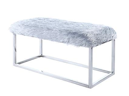 Amazon.com: Iconic Home Marilyn Bench Ottoman Faux Fur Metal ...