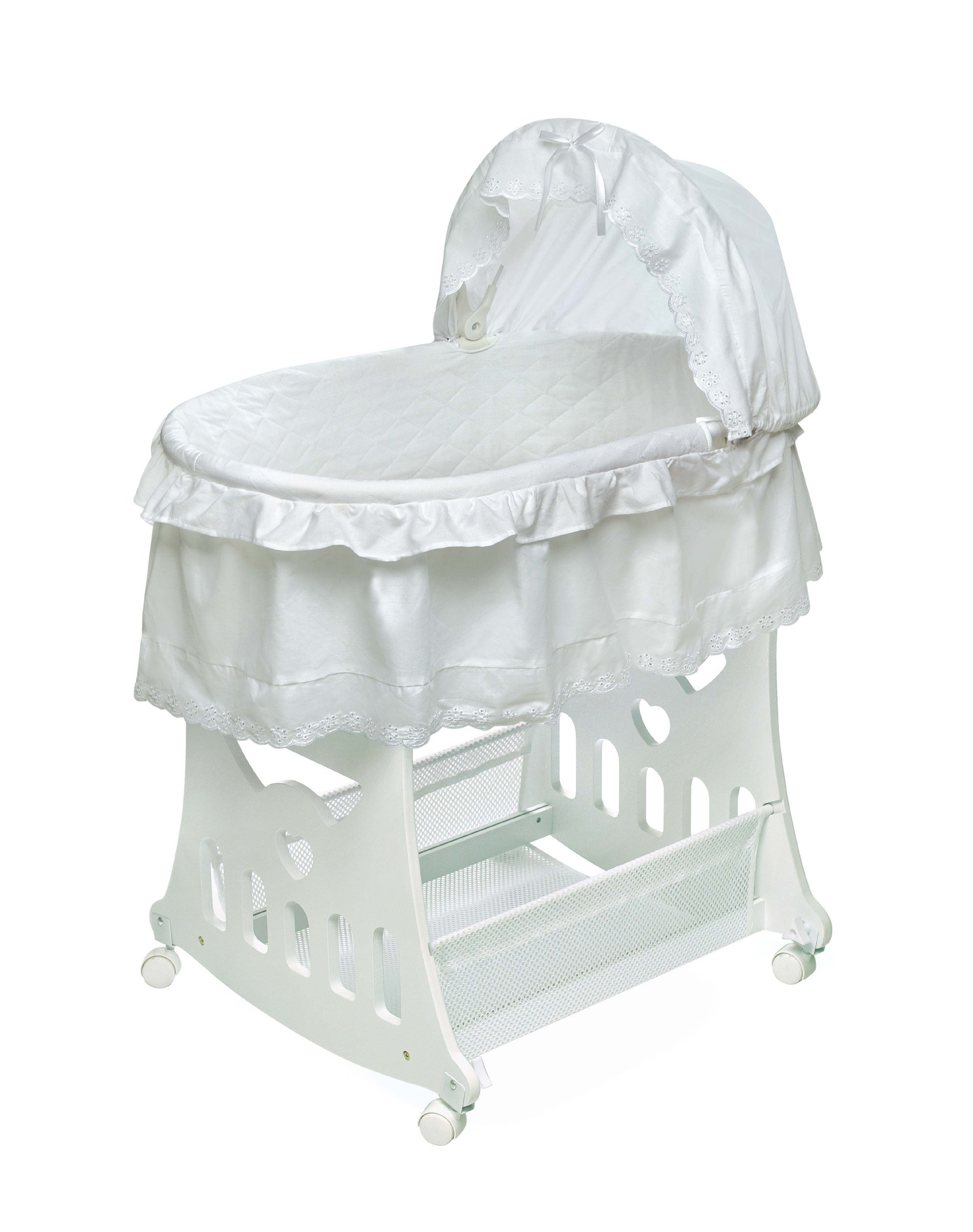 Badger Basket Half Skirt Portable Bassinet 'N Cradle with Toybox Base, White by Badger Basket (Image #1)