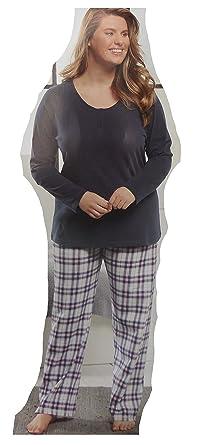 9c8afcf7177c90 Damen Schlafanzug Pyjama lang Set 2-teilig Pyjama Schlaf L-XXL Anzug A22016  (