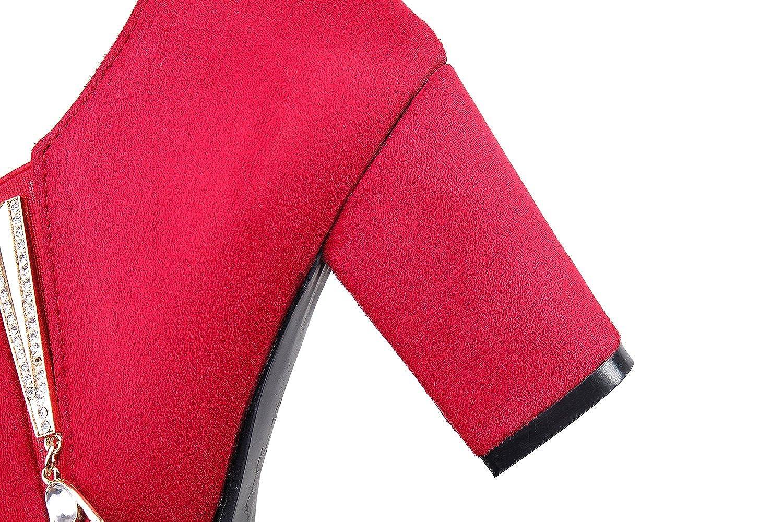 Show Shine Women's Chunky Heel Pendants Ankle High Chelsea Boots