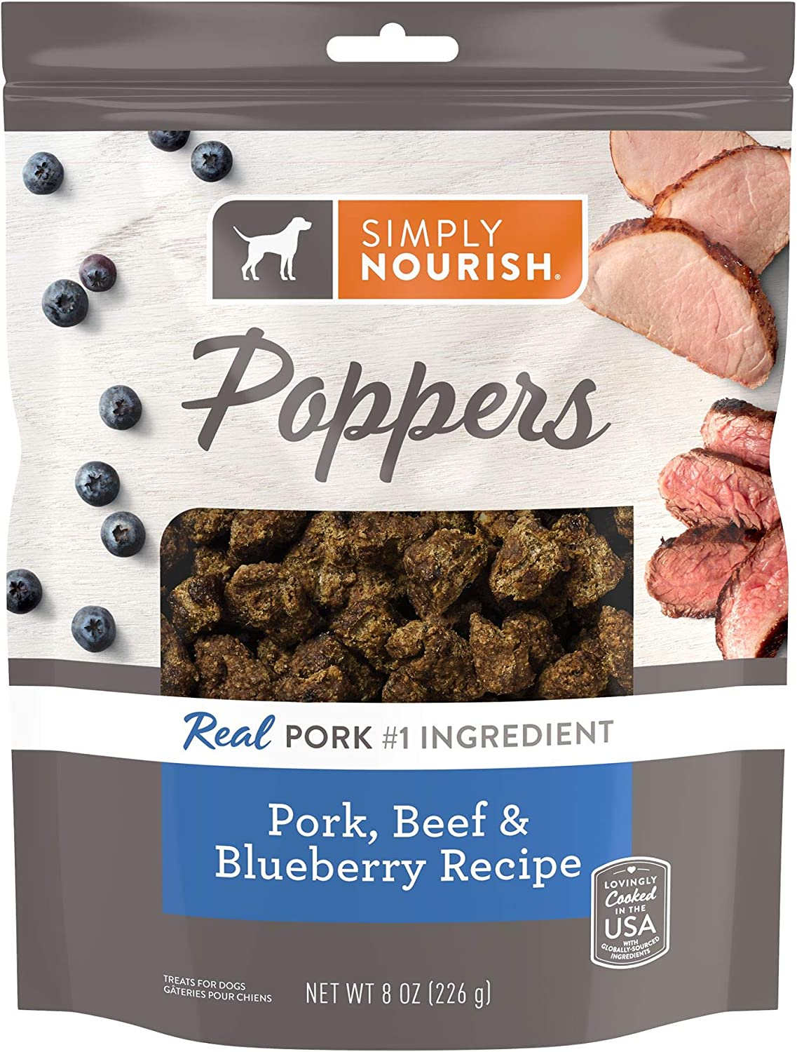 SIMPLY NOURISH Poppers Dog Treats - Pork, Beef & Blueberry Recipe (1) 8 OZ Resealable Bag