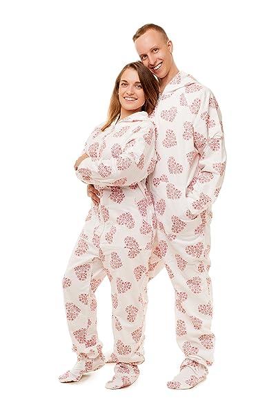 Pijama entero con pies para adultos Corazones copo de Nieve Kajamaz: Pijama entero con pies