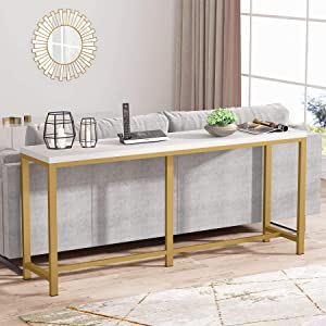 Tribesigns 70.9 inch Extra Long Sofa Table, Gold Console Table Behind Sofa Couch, Narrow Long Entryway Table Industrial Skinny Hallway Table for Living Room (Gold and White)