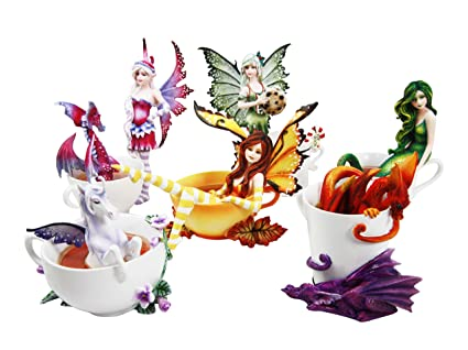 Amy Brown Fairy Mermaid Unicorn And Dragon Tea Cup Fantasy Collector Figurine Set Of 6
