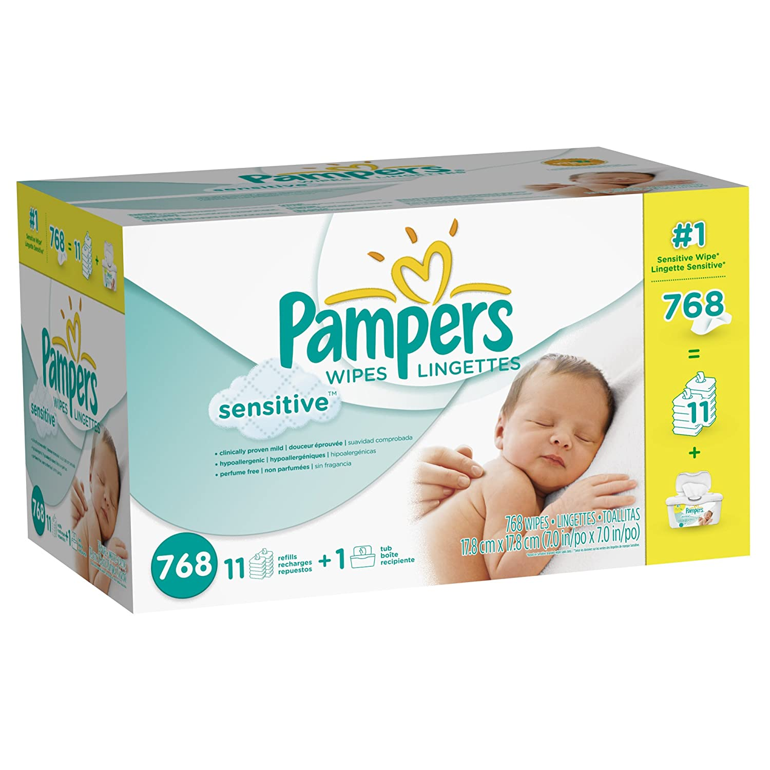 Pampers Sensitive Wipes 12x Box with Tub, 768 Count 37000836728