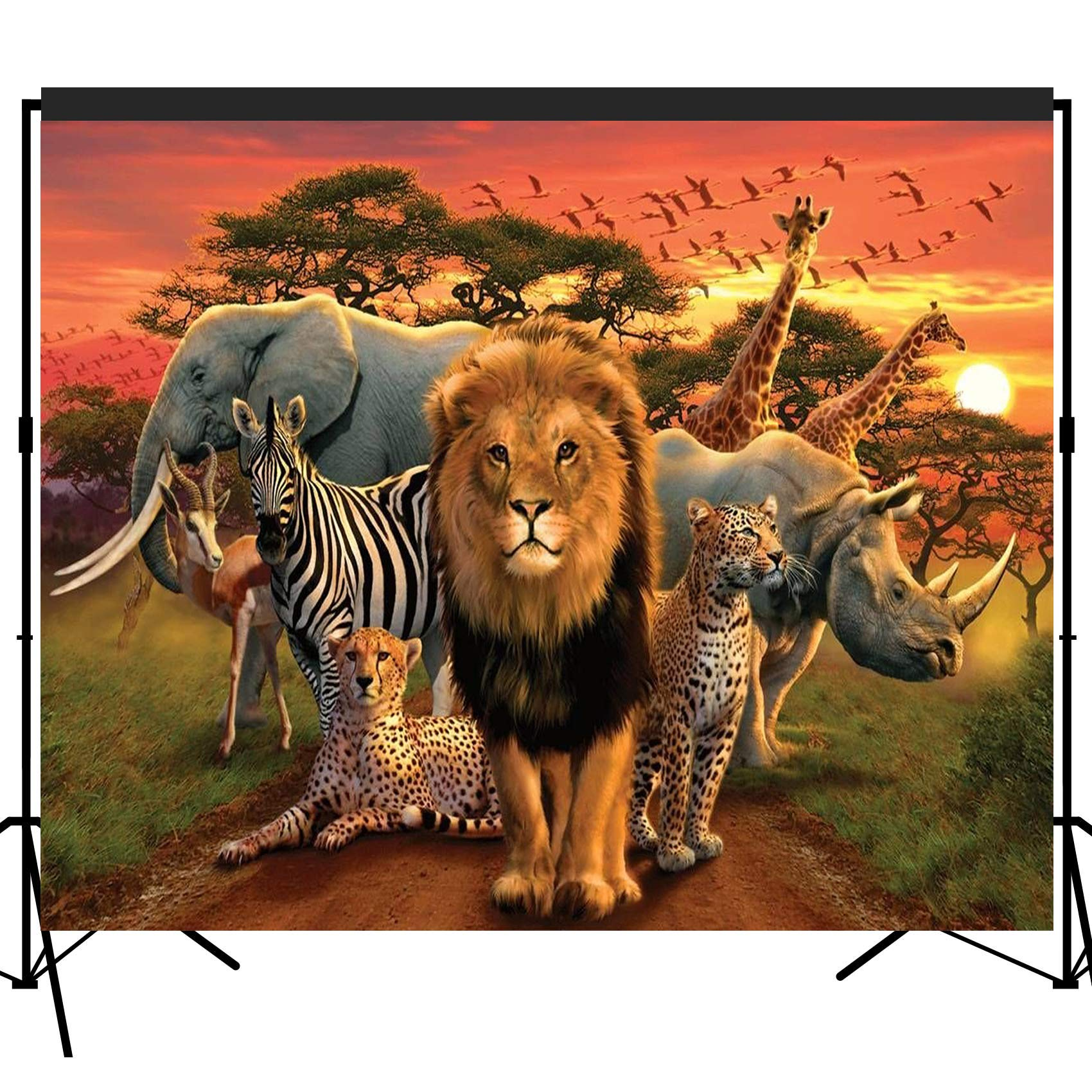 Musykrafties Tropical African Forest Jungle Safari Scenic Backdrop Large Banner Photography Studio Fabric Background Photobooth Prop 7x6feet #2194
