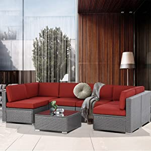 SUNCROWN Outdoor Patio Furniture 7-Piece Sofa Set Grey Wicker, Washable Seat Cushions with YKK Zippers and Modern Glass Coffee Table(Red Cushion)