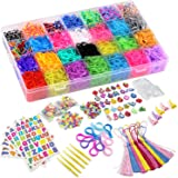 DasKid 12,000+ Rainbow Rubber Bands Refill Set 11,000+ Loom Bands 42 Colors 600 Clips 200 Beads + 52 ABC Beads 30 Charms…